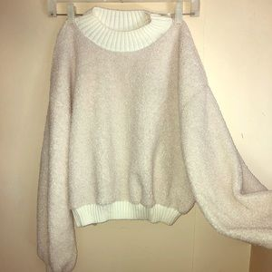 Sweaters - Fuzzy Cream Cropped Sweater